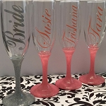 Single Color Glitter Stem Flutes