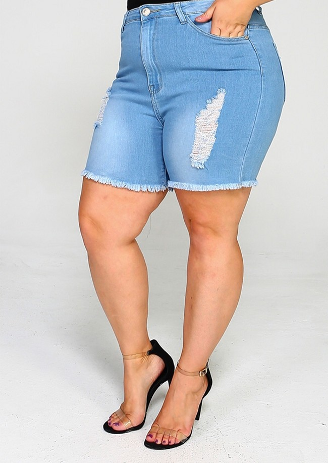 PLUS SIZE HIGH WAISTED RIPPED SHORTS